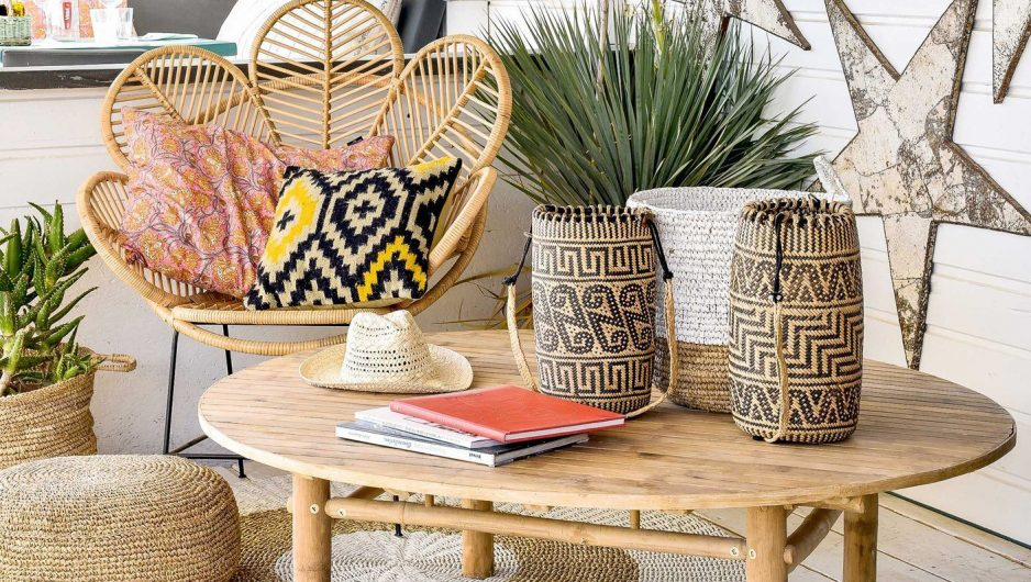 Set of decorative rattan elements