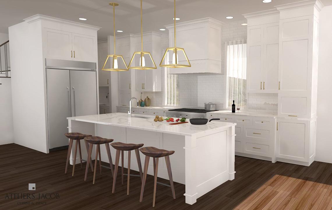 Exemple de modélisation 3D d'une cuisine Ateliers Jacob